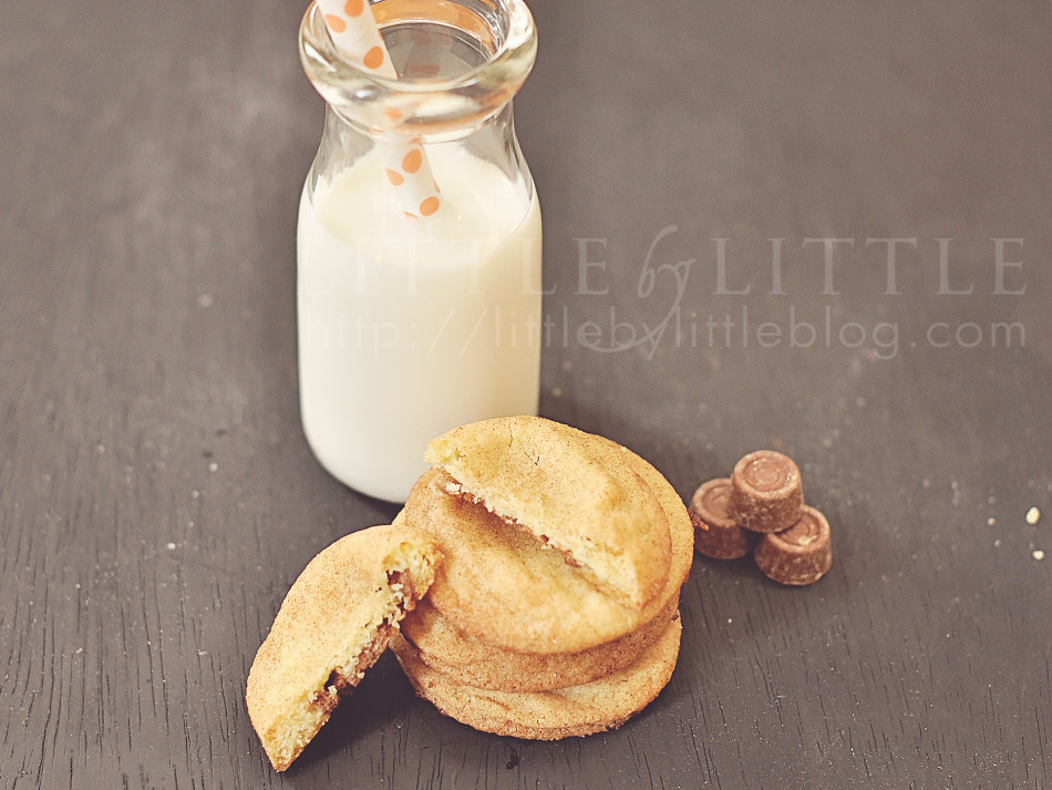 snickerdoodle rolo cookies and milk